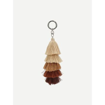 Layered Tassel Design Keychain