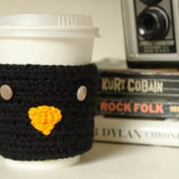 Reusable Coffee Sleeve, Crochet Crow Coffee Sleeve, Black Crochet Sleeve