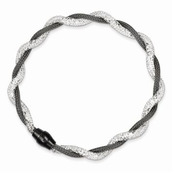 Sterling Silver Rhodium Plated Mesh & Crystal Magnetic Clasp Bracelet