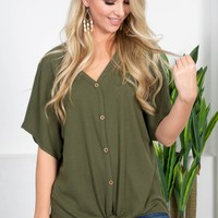 Olivia Green Knot Top