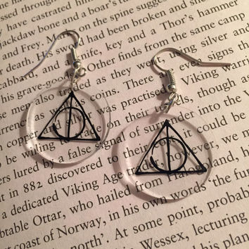 Harry Potter Deathly Hallows Earrings Harry Potter Earrings Deathly Hallows Hermione Granger Jewelry Hermione Earrings Hogwarts Earring