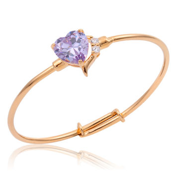 New Cute Lovely 18K Yellow Gold Plated Amethyst Love Heart Channel Pave Clear CZ Bangles Bracelets For Baby Toddler Jewelry