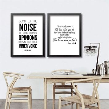 Steve Jobs Inspiring Quote Canvas Art Print and Poster Modern Black and White Minimalist Canvas Painting Office Wall Picture