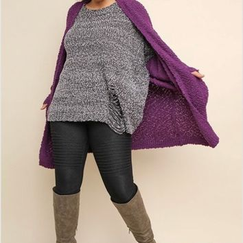 Umgee Long Sleeve Open Front Knit Cardigan