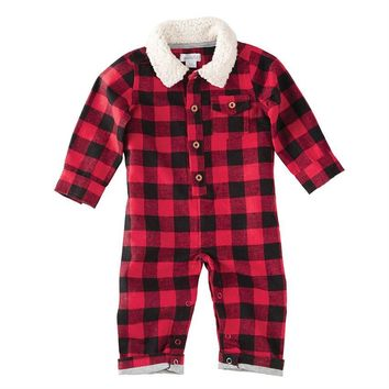 MUD PIE BUFFALO CHECK SHERPA ONE-PIECE
