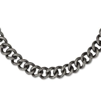 Textured Fancy Necklace in Stainless Steel - Lobster Claw