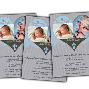 Multiple Photo Blue Heart Christening Invitation - Boy Blue and Grey Baptism Invitations - Custom Photo Religious Invite - Fast - spanish