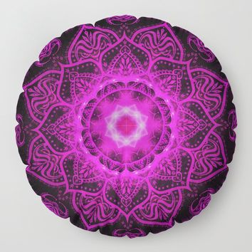 Violet Evening Star Mandala Floor Pillow by inspiredimages