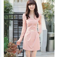 Lace Puff Sleeve Lace V-Neck Professional Slim Dress  style 1627738