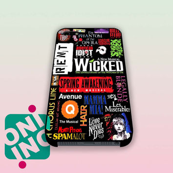 Broadway Musical Collage Art iPhone Case Cover | iPhone 4s | iPhone 5s | iPhone 5c | iPhone 6 | iPhone 6 Plus | Samsung Galaxy S3 | Samsung Galaxy S4 | Samsung Galaxy S5