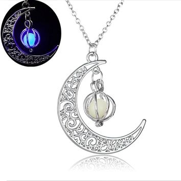 Moon shape Luminous Pumpkin Pendants Glowing Necklace