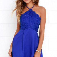 Pleats and Thanks Royal Blue Lace Skater Dress