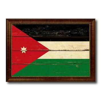 Jordan Country Flag Vintage Canvas Print with Brown Picture Frame Home Decor Gifts Wal