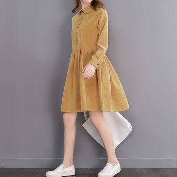 Japanese Mori Girl 2017 New Spring Women Peter Pan Collar Corduroy Dress Solid Vintage Dresses Female Sweet Vestidos