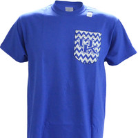 UK Printed Chevron Pocket  on a Blue Short Sleeve T Shirt