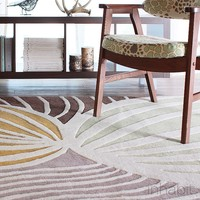 Leaf in Natural & Apricot Hand-Tufted Wool Area Rug