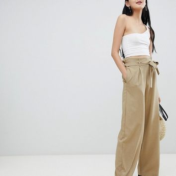 Pull&Bear wide leg palazzo pants in brown at asos.com