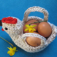 Crochet --- PATTERN --- Chicken Egg Basket Bowl PDF Easter Spring Amigurumi