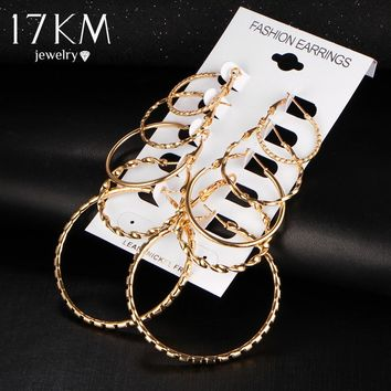 17KM Oversize Gold Color Big Circle Hoop Earrings Set for Women 5 Pair/set Vintage Steampunk Ear Clip Wedding Party Jewelry Gift