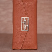 Lucky 21 Textured Faux Leather Jewel Emblem Trifold Wallet - Light Brown