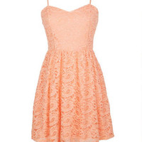 Thin Strap Lace Dress - Peach
