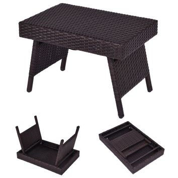 Mix Brown Folding Rattan Side Coffee Table Patio Garden Outdoor Furniture New