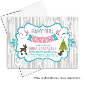 Wood baby shower invitations baby girls | rustic baby shower invites with birds in pink and gray | printable or printed - WLP00709