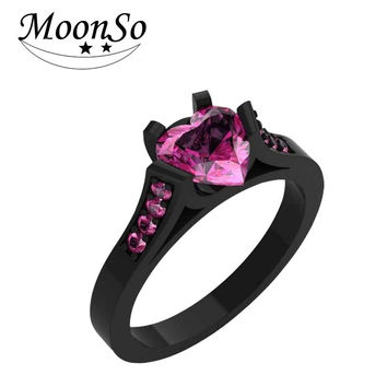 Zircon rings women Europe and hot black gold wedding rings handmade rings pretty in pink stones R2057