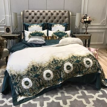 100S Pima Cotton Luxury Leopard Print Embroidery Bedding Set Queen King Size Duvet Cover Bed Linen Bed sheet Pillowcases 4/6pcs