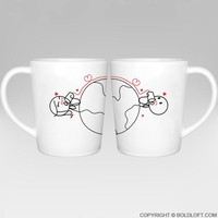 Love Has No Distance™ Couple Coffee Mugs, -Long Distance Relationship Gifts for Couples,Cute Valentines Gifts for Him or Her,Romantic Anniversary Gifts