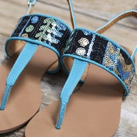 Take A Step In My Direction Teal And Sequin Aztec Thong Flat Sandals