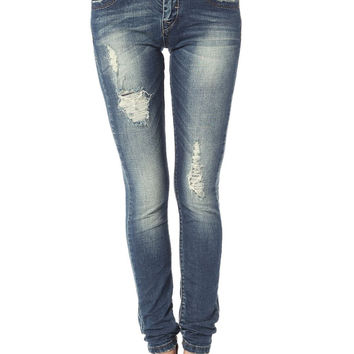 Q2 Skinny Jeans With All Over Rips & Distressing