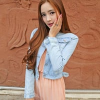 Women New Spring Autumn Slim Long-sleeve Casual Denim Jeans Short Coat Jacket Tops All-match = 1929882884