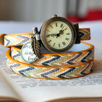 Chic Leather Wrap Watch, Colorful Leather Watch, Wrist Watch Women Accessories Inspirational Quote