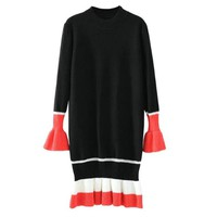 2 Colors Knitted Striped Mini Shift Dress Long Bell Sleeve Ruffled Loose Casual Straight Streetwear  Women Autumn Fall