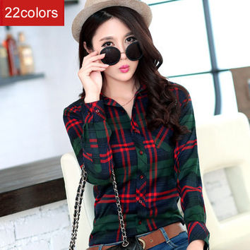 2016 spring new Fashion 16 colors girl's plaid flannel casual shirt female long sleeve plaid shirt ladies plus size women's Tops