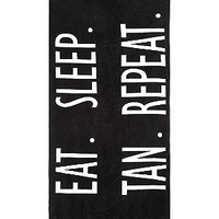 Black Eat Sleep Tan Repeat Towel