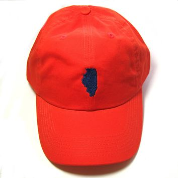 Illinois Hat - Classic Dad Hat  - Navy and Orange - All States Available