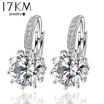 Fashion Alloy Silver Color 10 Color Geometry Crystal Earring Simple Jewelry Design Round Zirconia Earrings Statement  For Women