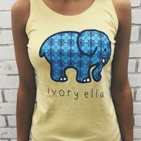 MyNeLo 2016 Summer New Women Printed Animal Elephant T-shirt Fashion Ivory Ella Loose Sleeveless Tee Shirt Q2892