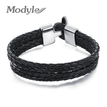 Modyle Four Layer Leather Man Wrap Bracelets Vintage Black Genuine Leather Men Jewelry 15MM Width Anchor Clasp Accessories