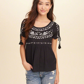Girls Lace-Up Sleeve Embroidered Top | Girls Tops | HollisterCo.com