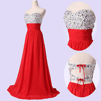 NEW Lady Strapless Prom gown Long Evening Wedding Party Beaded Formal Dress 6~20