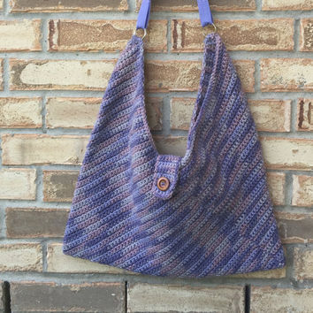 Large Crocheted Masa Bag in Variegated Lavender Shades, Lined, Crochet Slouch Bag, College Book Bag, Crochet Shoulder Bag, Bohochic Hobo Bag
