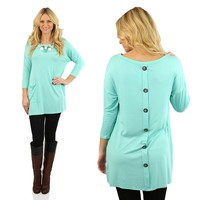 Cute As A Button Tunic in Mint