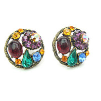 Weiss Rhinestone Cluster Earrings. Multi Color Jewel Cabochons, Pear & Round Cut AB Crystals. Gold Tone Vintage 1950s Fashion Jewelry