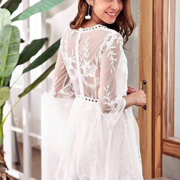 Southern Magnolia Embroidered Dress
