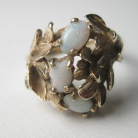 Vintage 14kt Yellow Gold Triple Opal Cocktail Ring in Gold Leaves - size 4.5
