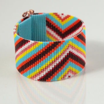 Boho Colorful Beaded Cuff Bracelet - Bead Loom - Native American Inspired - Wide - Hippie Chic - Southwestern - Mexican - Tribal