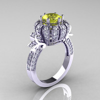 Classic Yeva 14K White Gold 1.0 CT Yellow Sapphire Diamond Crown Solitaire Bridal Ring Y303C-14WGDYS